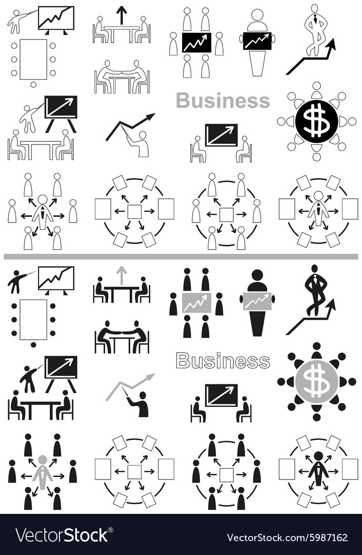 Business icons negotiating table and graph vector