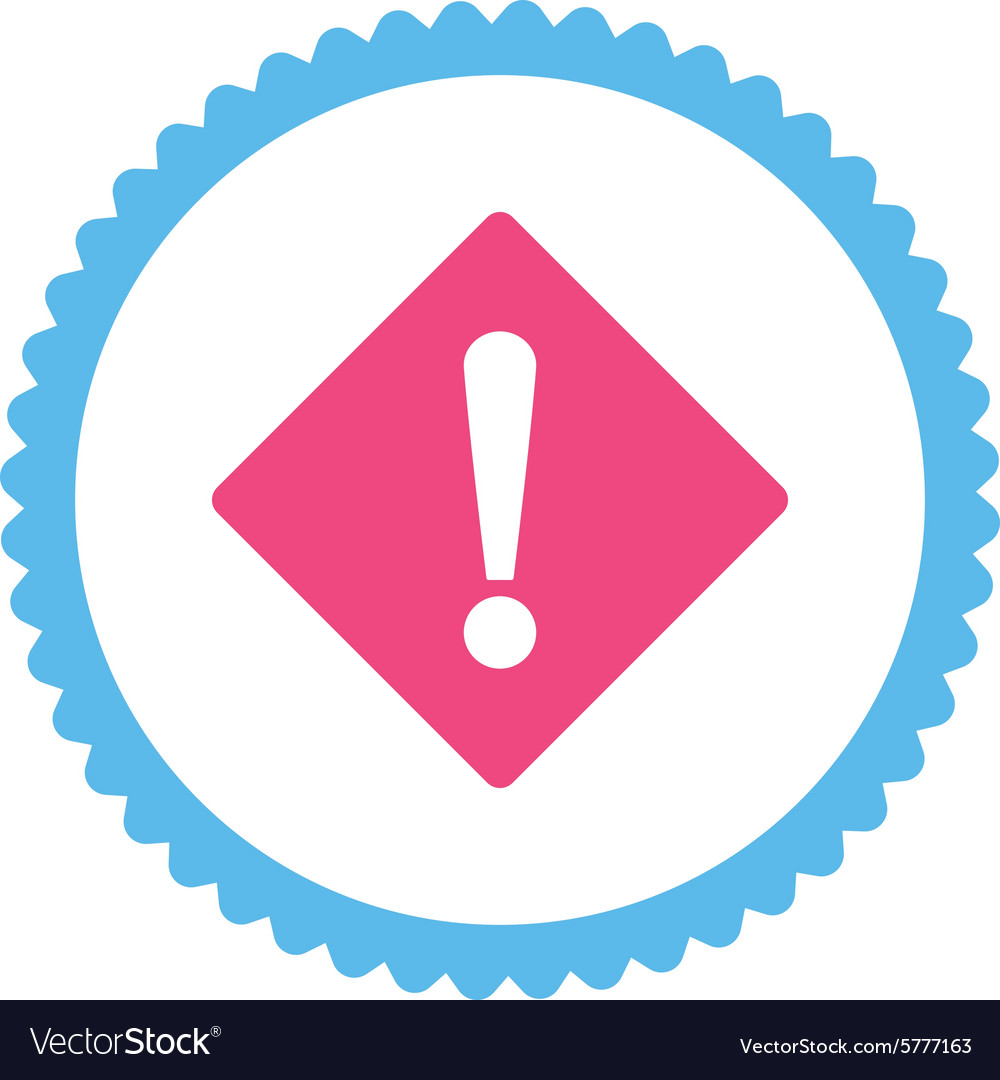 Error flat pink and blue colors round stamp icon vector