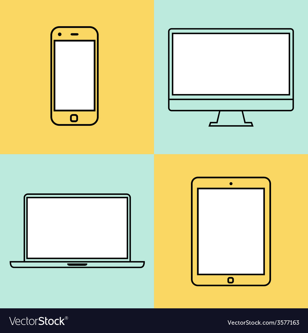 Laptop tablet computer monitor and smartphone vector