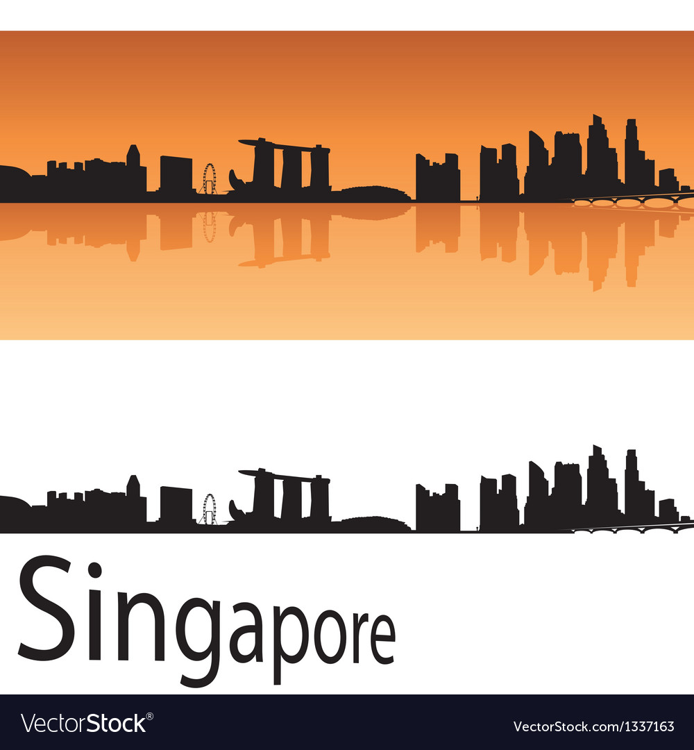 Singapore skyline in orange background vector