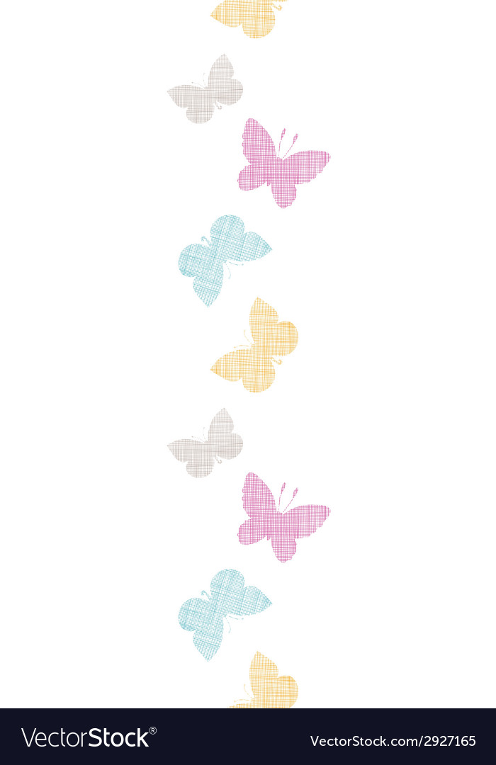 Textile textured colorful butterflies vertical vector