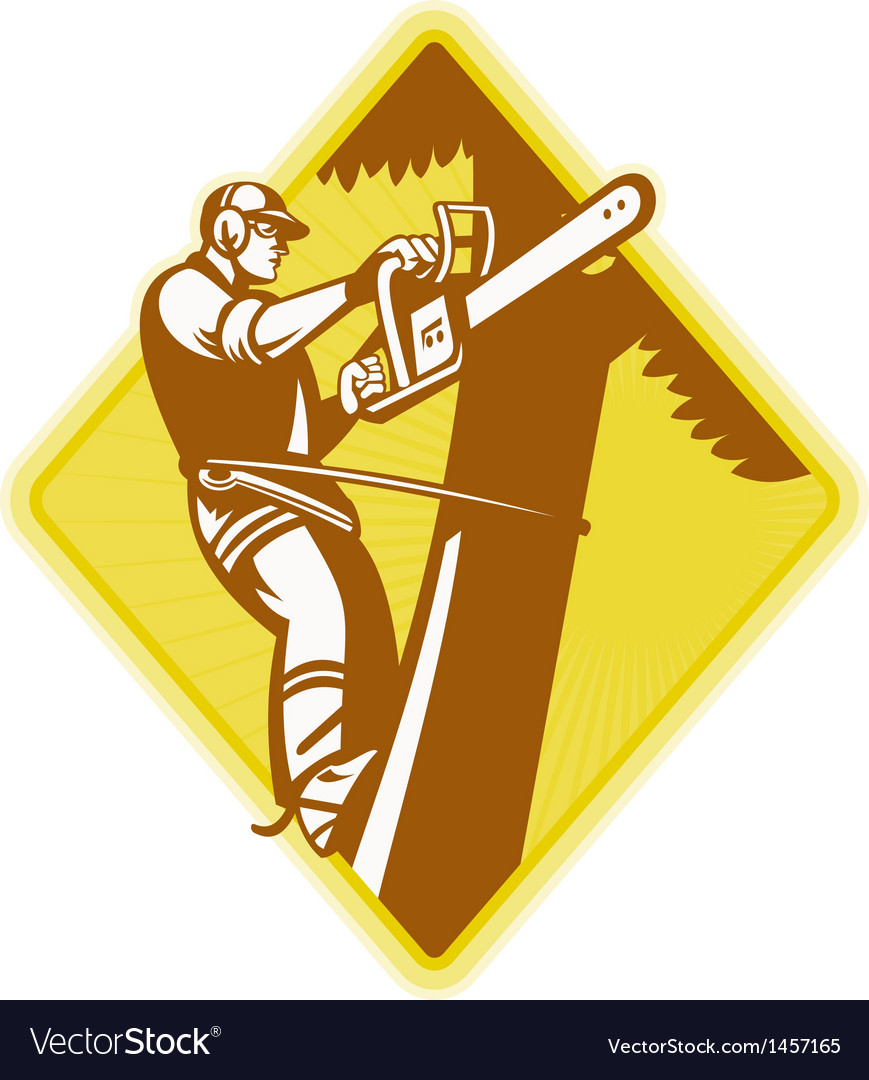 Tree surgeon arborist chainsaw retro vector