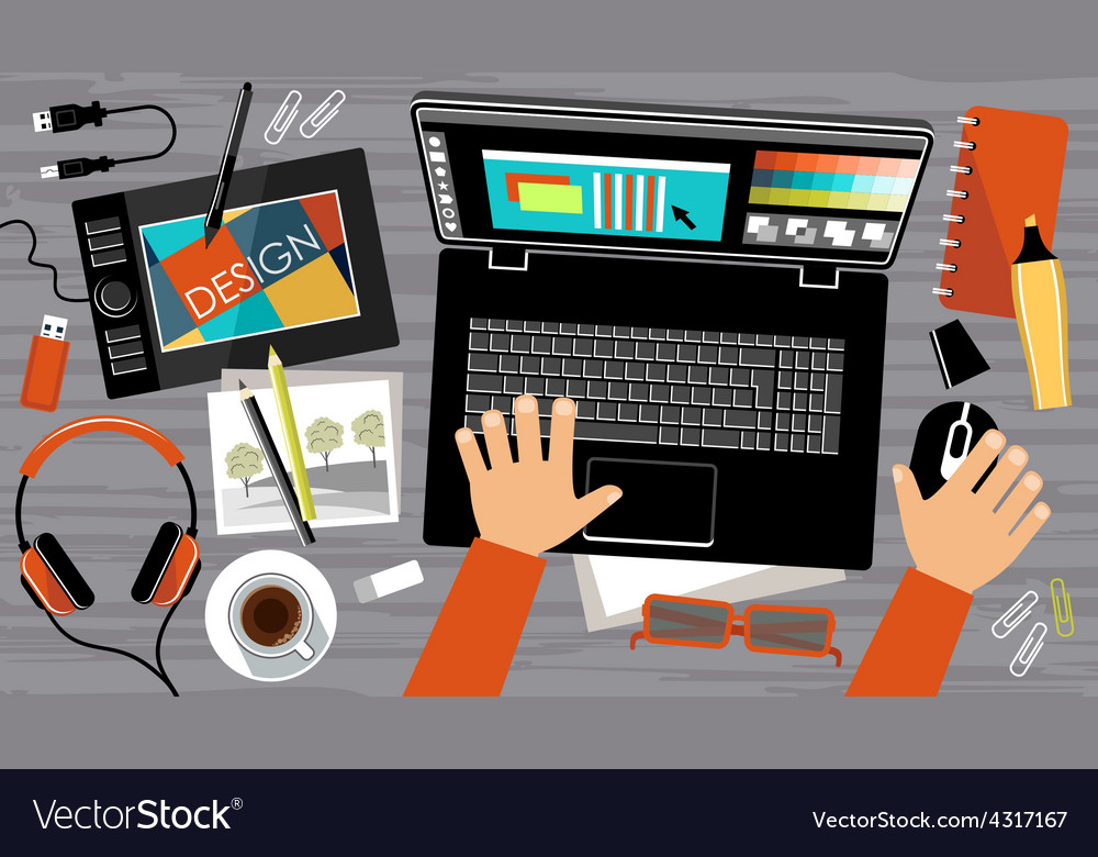 Flat design of creative office workspace vector