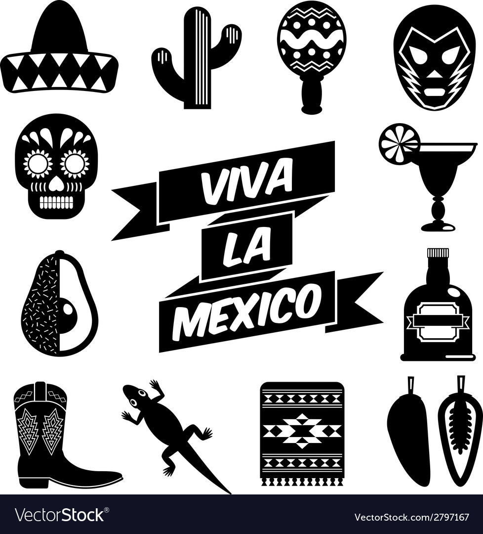 Mexican silhouettes vector