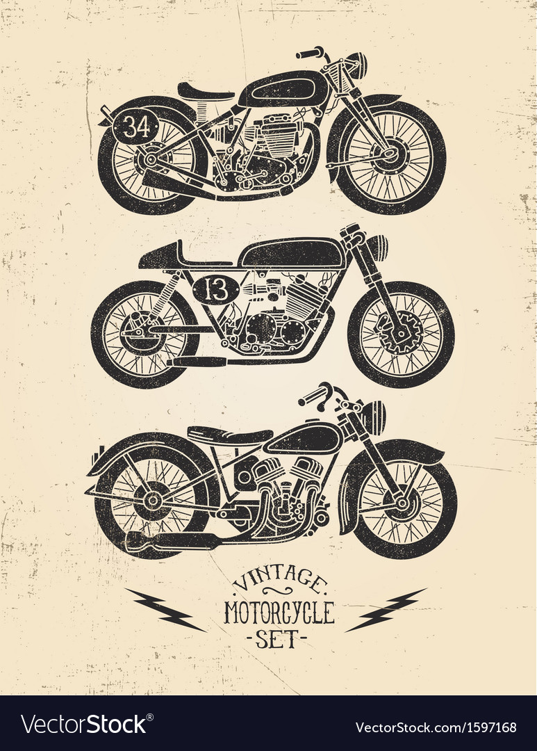 Vintage motorcycle set vector
