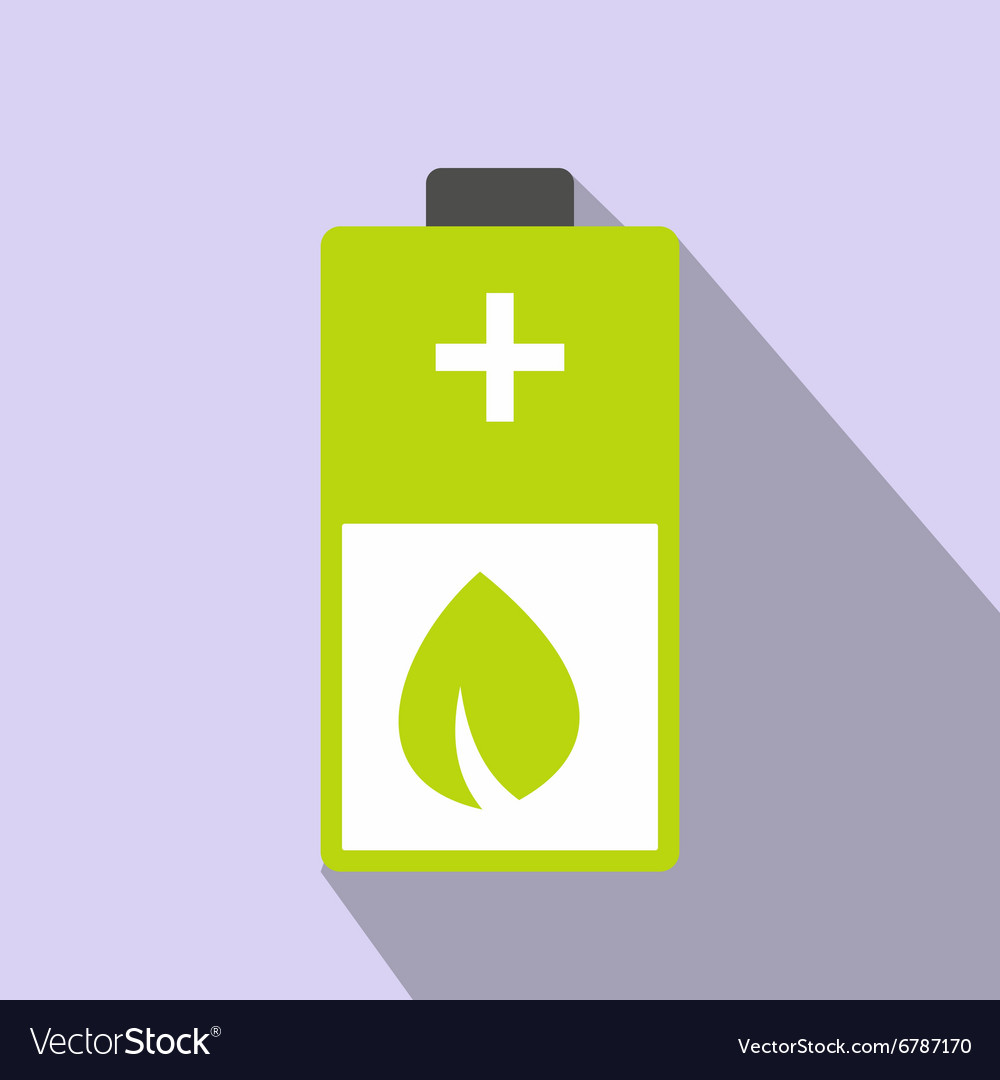 Eco energy battery icon vector
