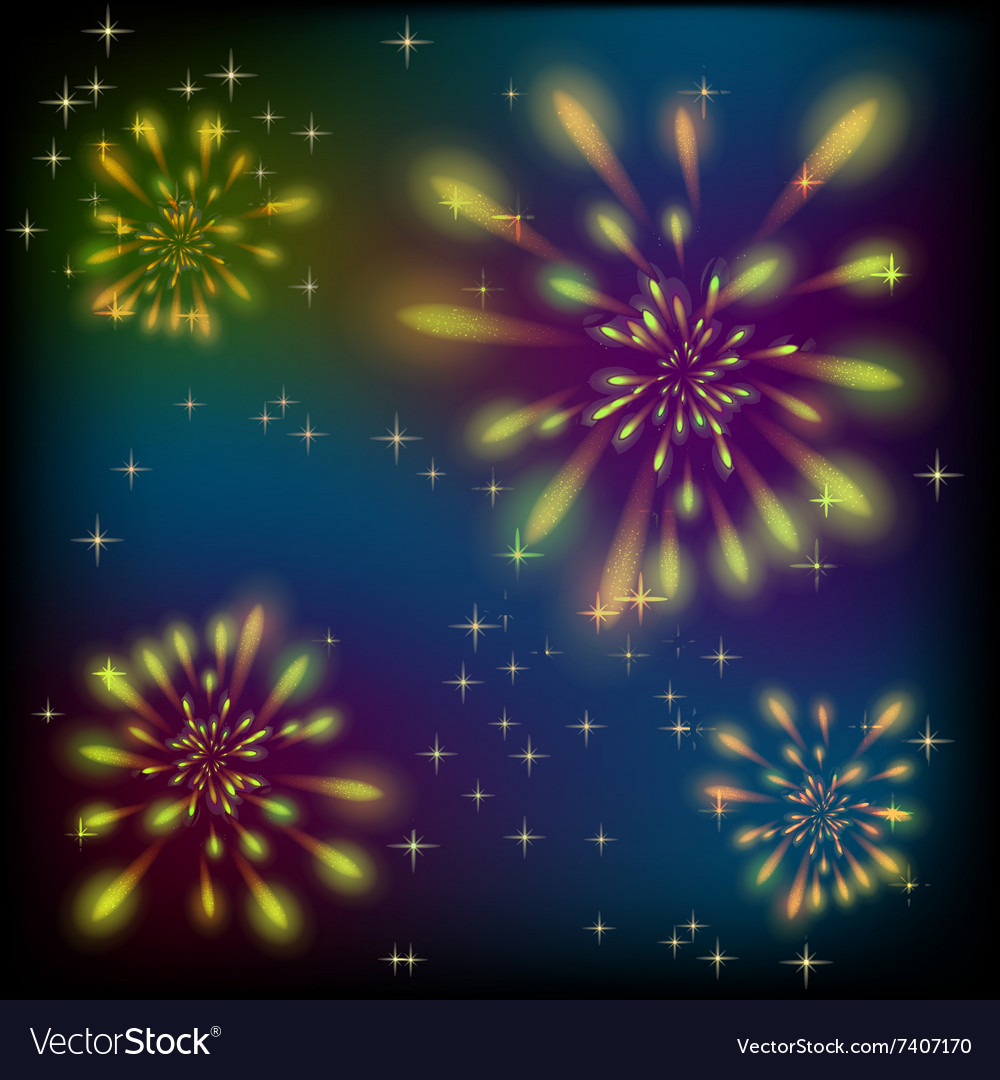 Fireworks on a colorful sky vector