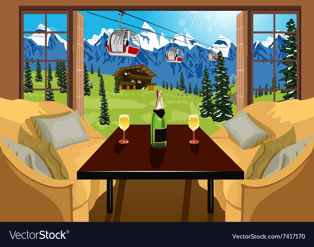 Interior of a hotel room in ski resort in summer vector