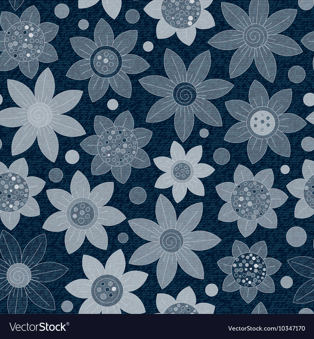 Jeans background with flowers denim vector