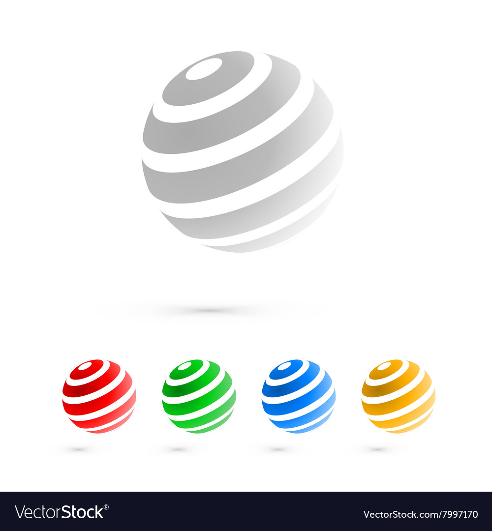 Set of logo globe icon elements vector