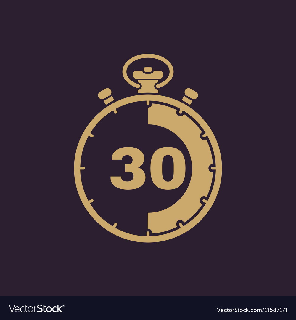 30 seconds minutes stopwatch icon clock and vector
