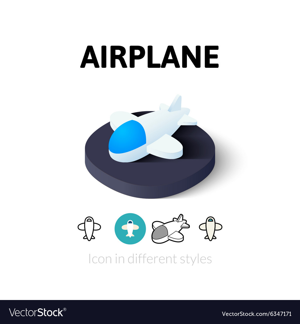 Airplane icon in different style vector