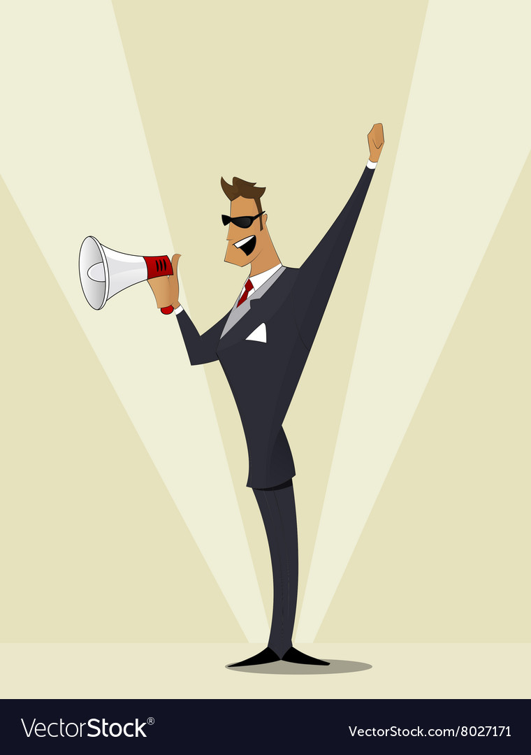 Business man shouting in megaphone vector