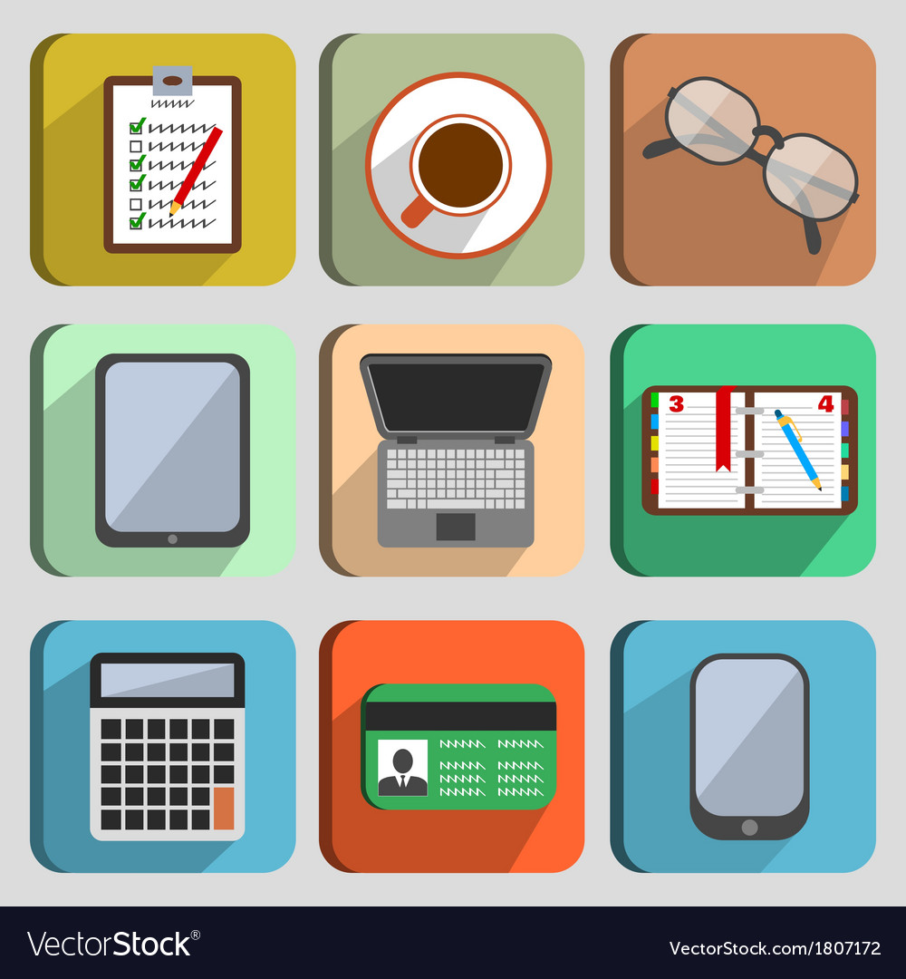 Business set workplace elements vector