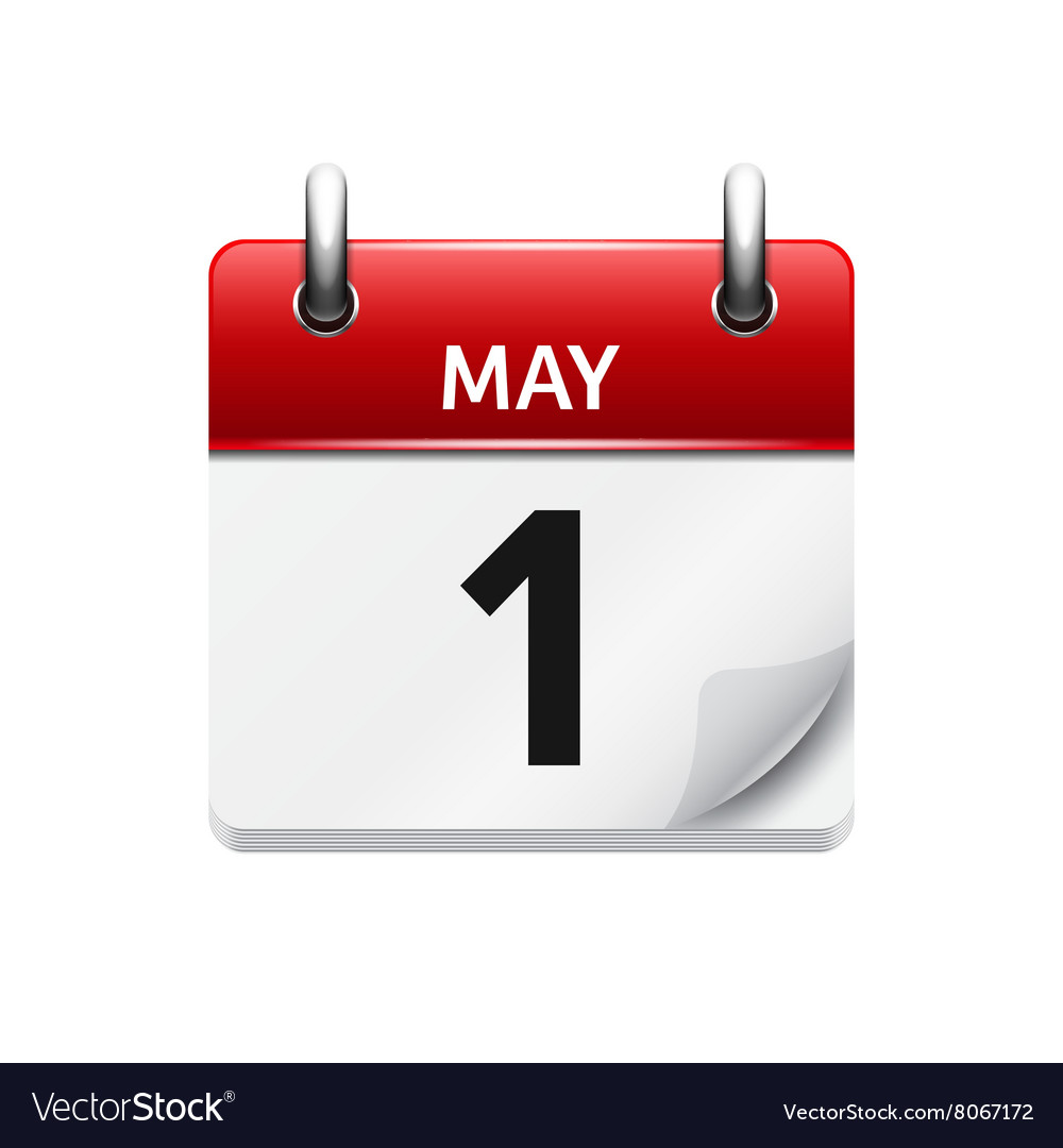 May 1 flat daily calendar icon date and vector