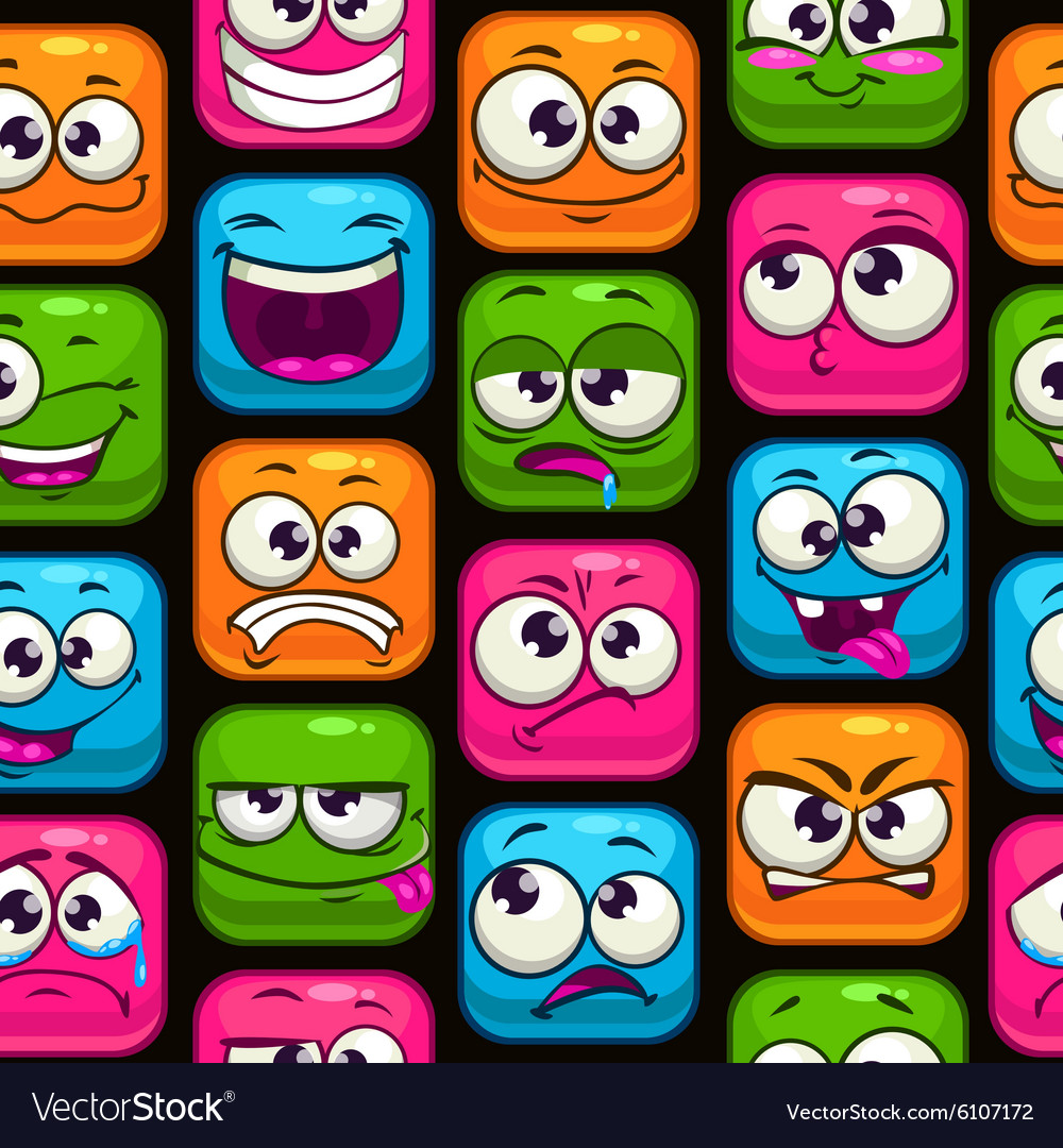 Seamless pattern with funny cartoon colorful faces vector