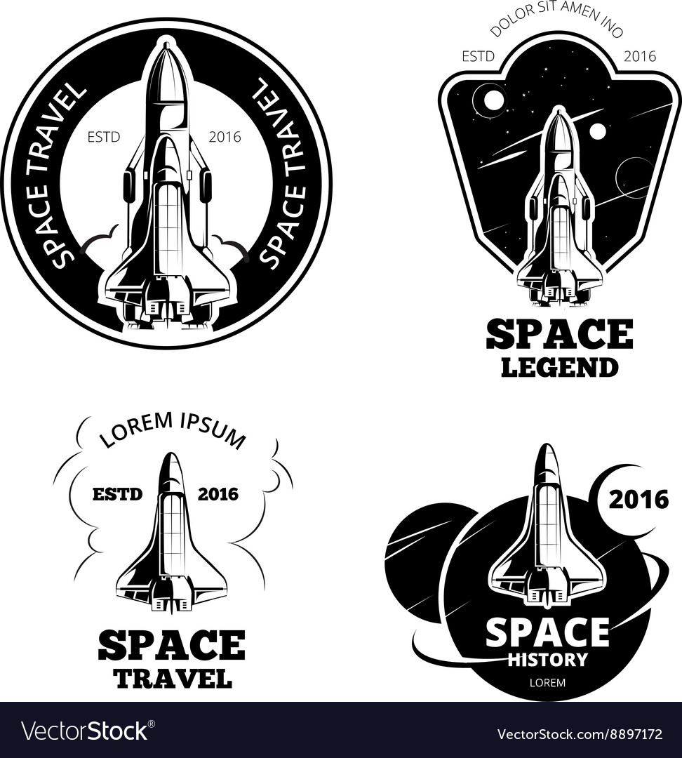 Space astronaut badges emblems and logos vector