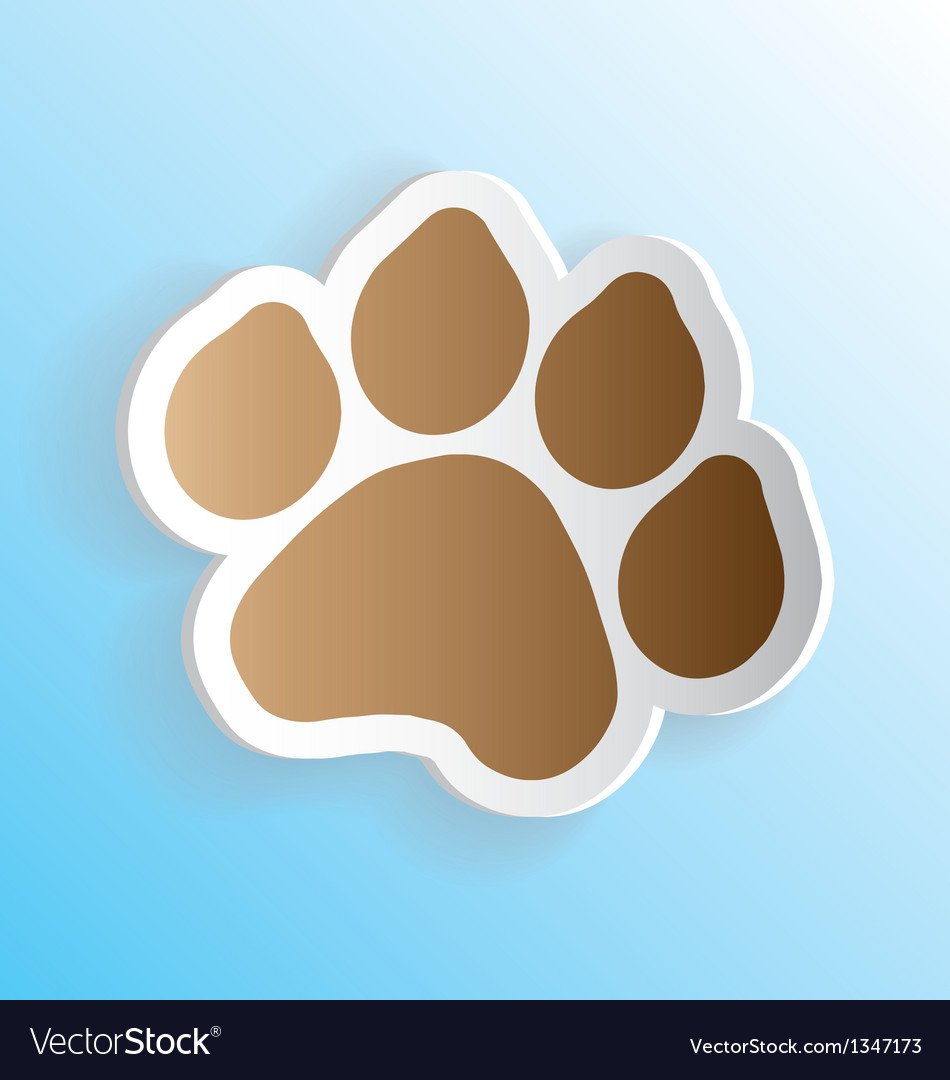 Dog paw print sticker peeling vector