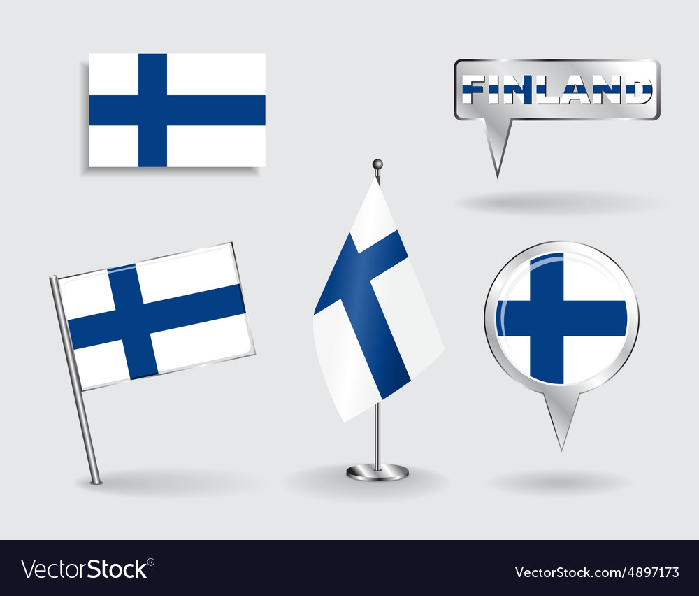 Set of finnish pin icon and map pointer flags vector