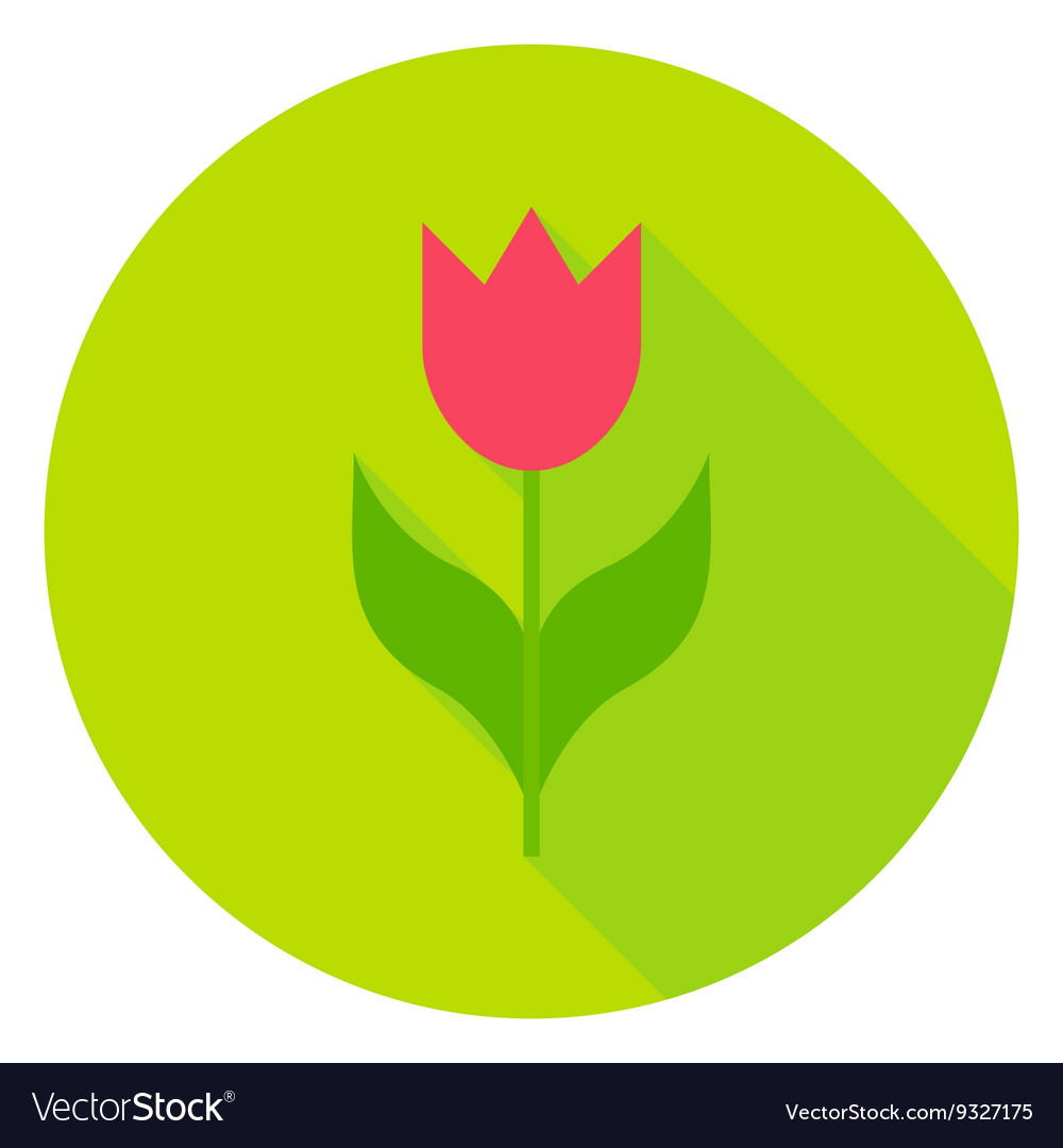 Spring flower tulip circle icon vector