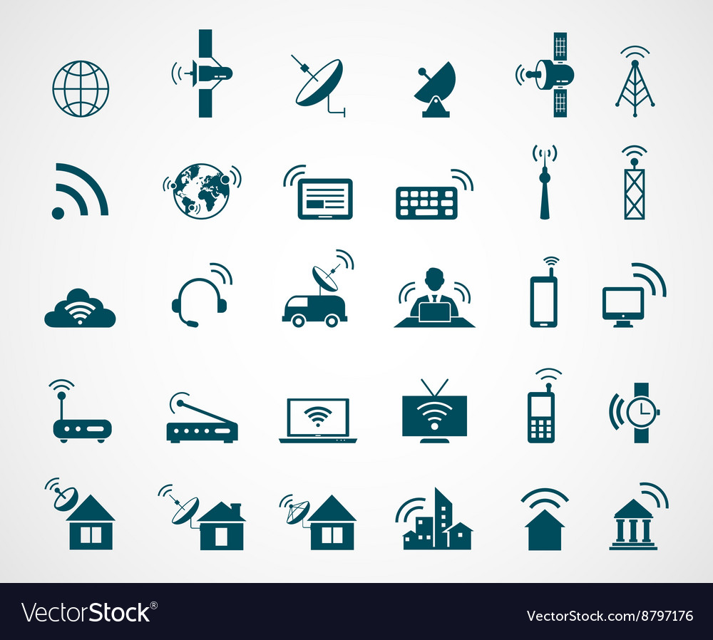 Antenna and wireless technology icons vector