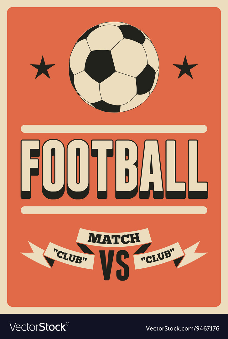 Football typographical vintage style poster vector