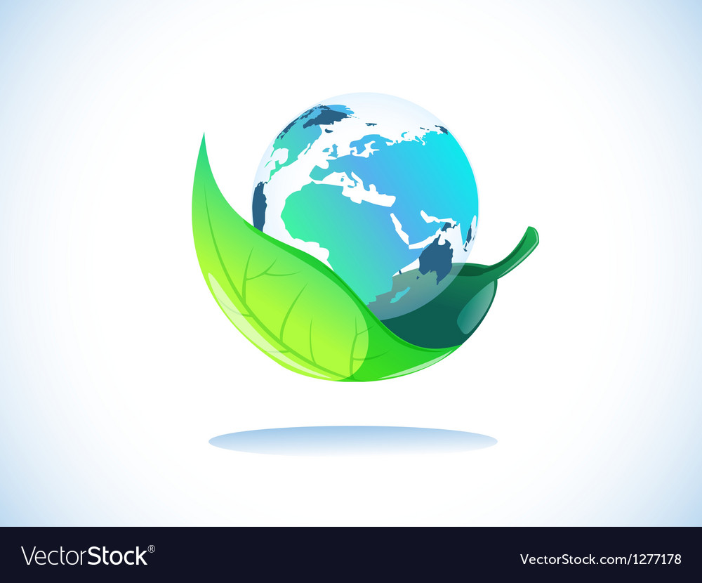 Earth in leaf vector