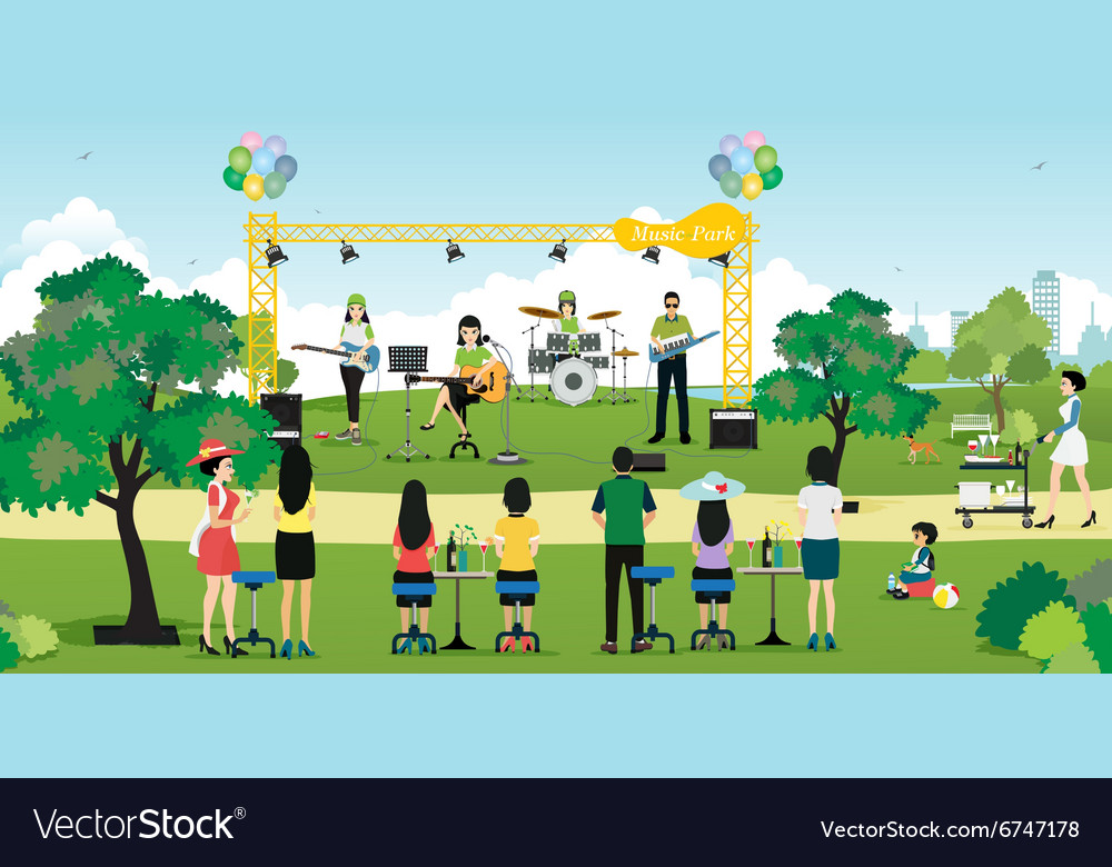 Music in the park vector