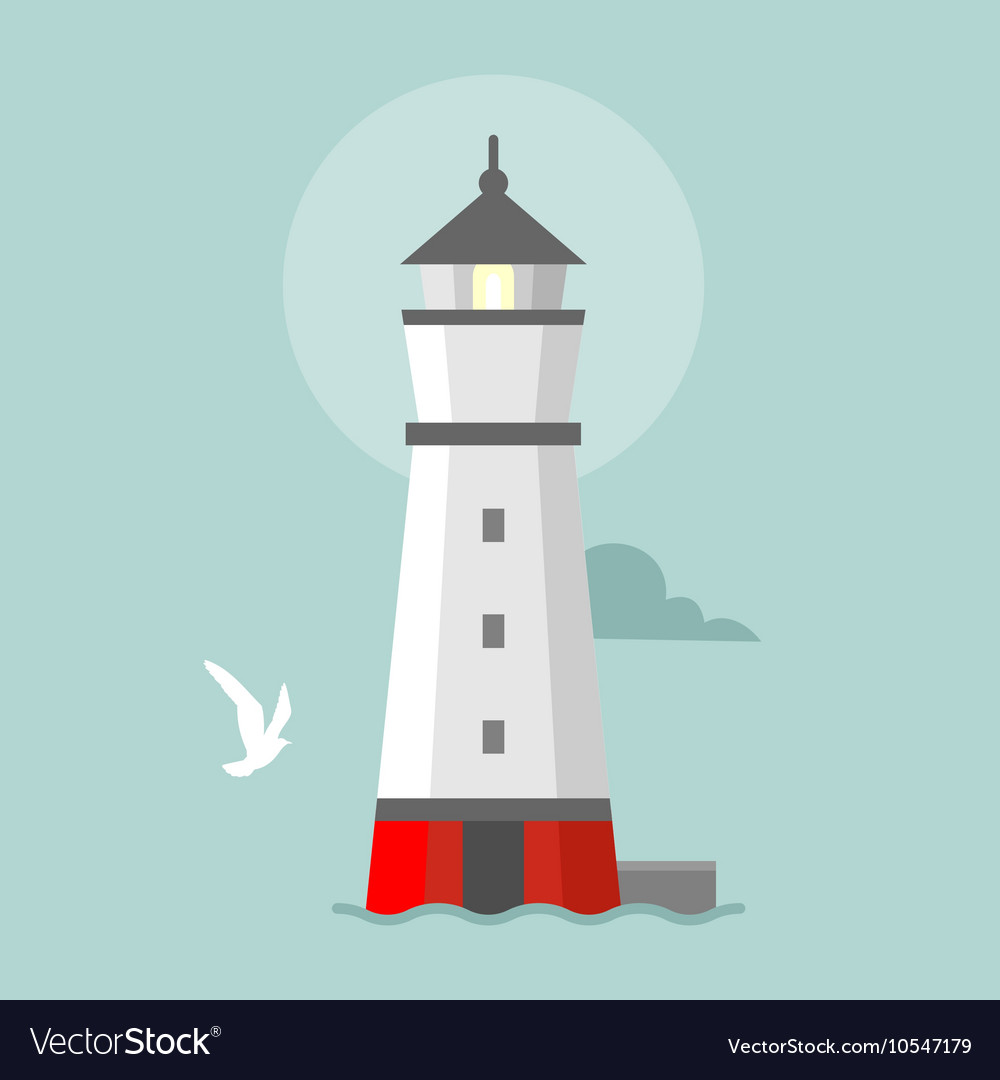 Flat lighthouse cartoon landscape vector