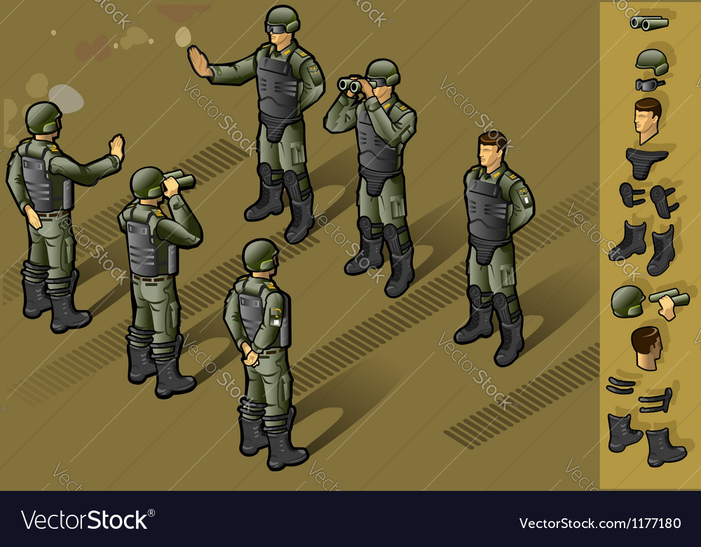 Isometric set of military people standing vector