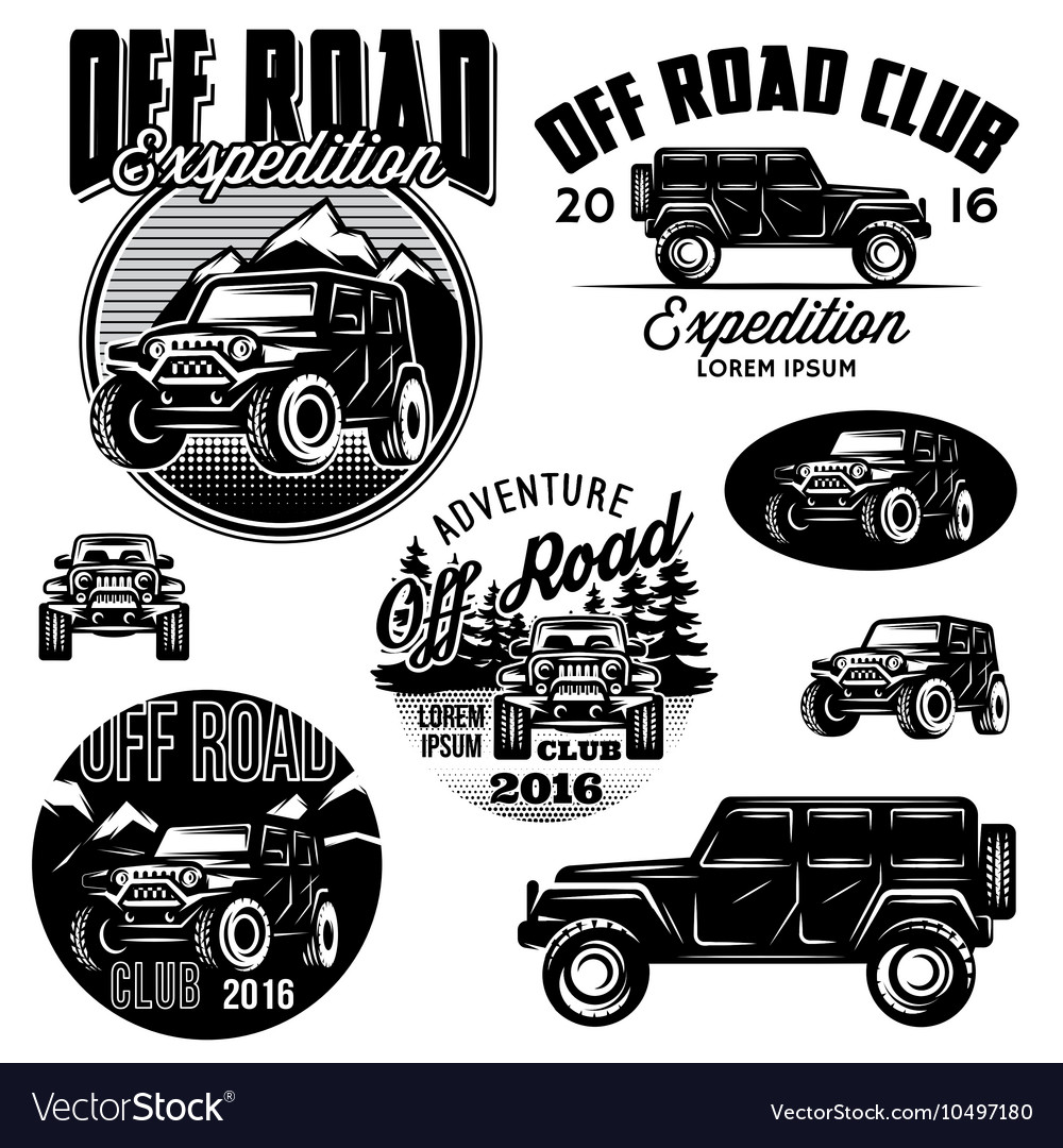 Templates for suvs offroad sport club vector