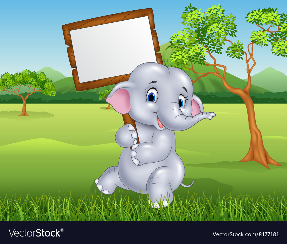 Cute elephant holding blank sign in the jungle vector