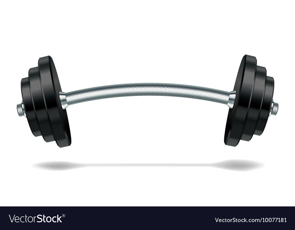Metal realistic barbell vector