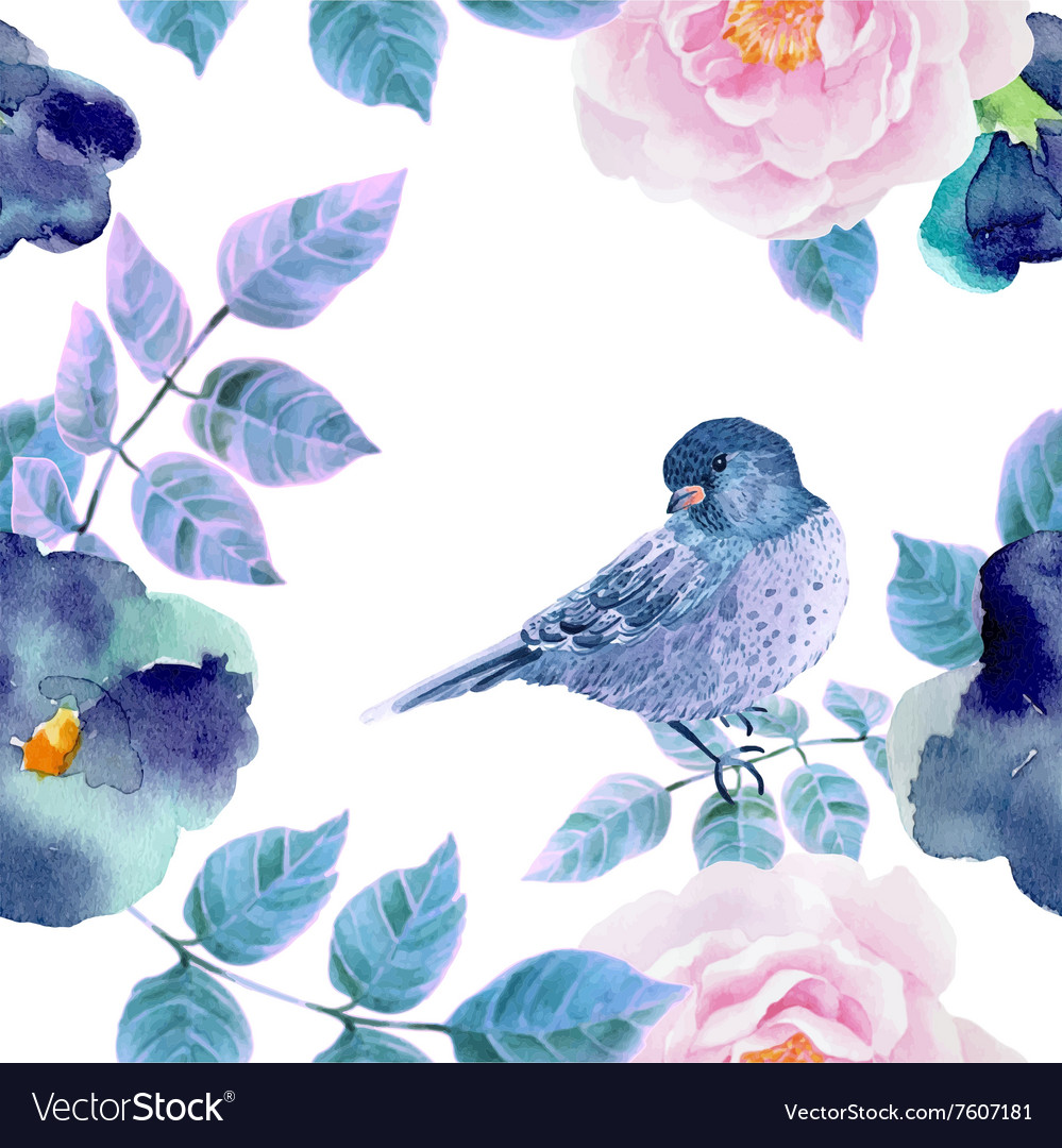 Watercolor seamless pattern with flowers and vector
