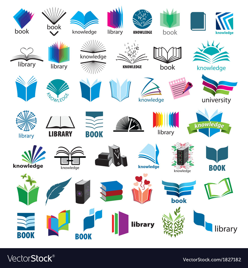 Biggest collection of logos books vector