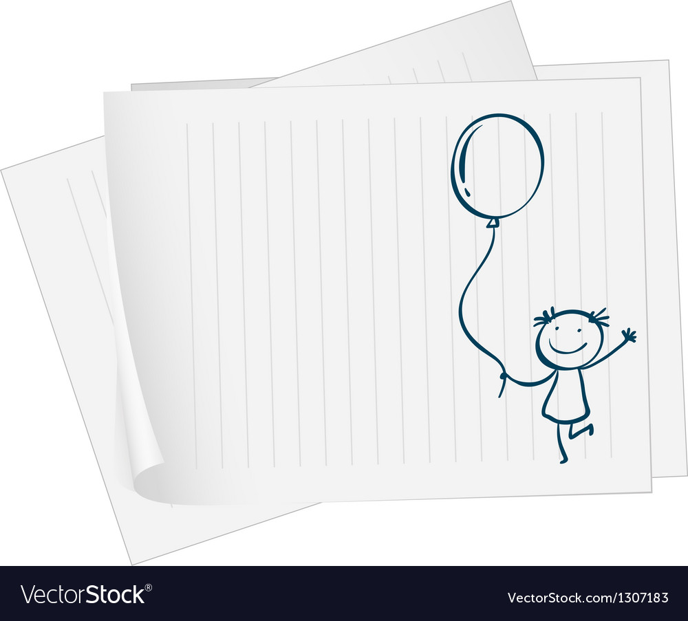 A paper with a drawing of a kid holding a balloon vector