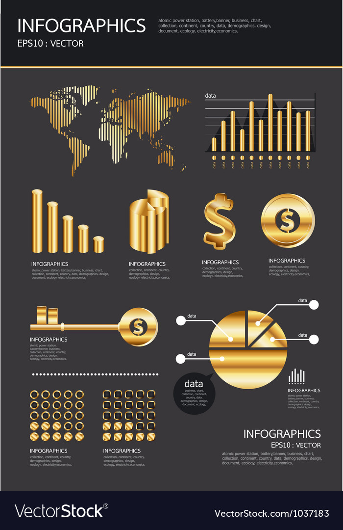 Gold infographics se vector