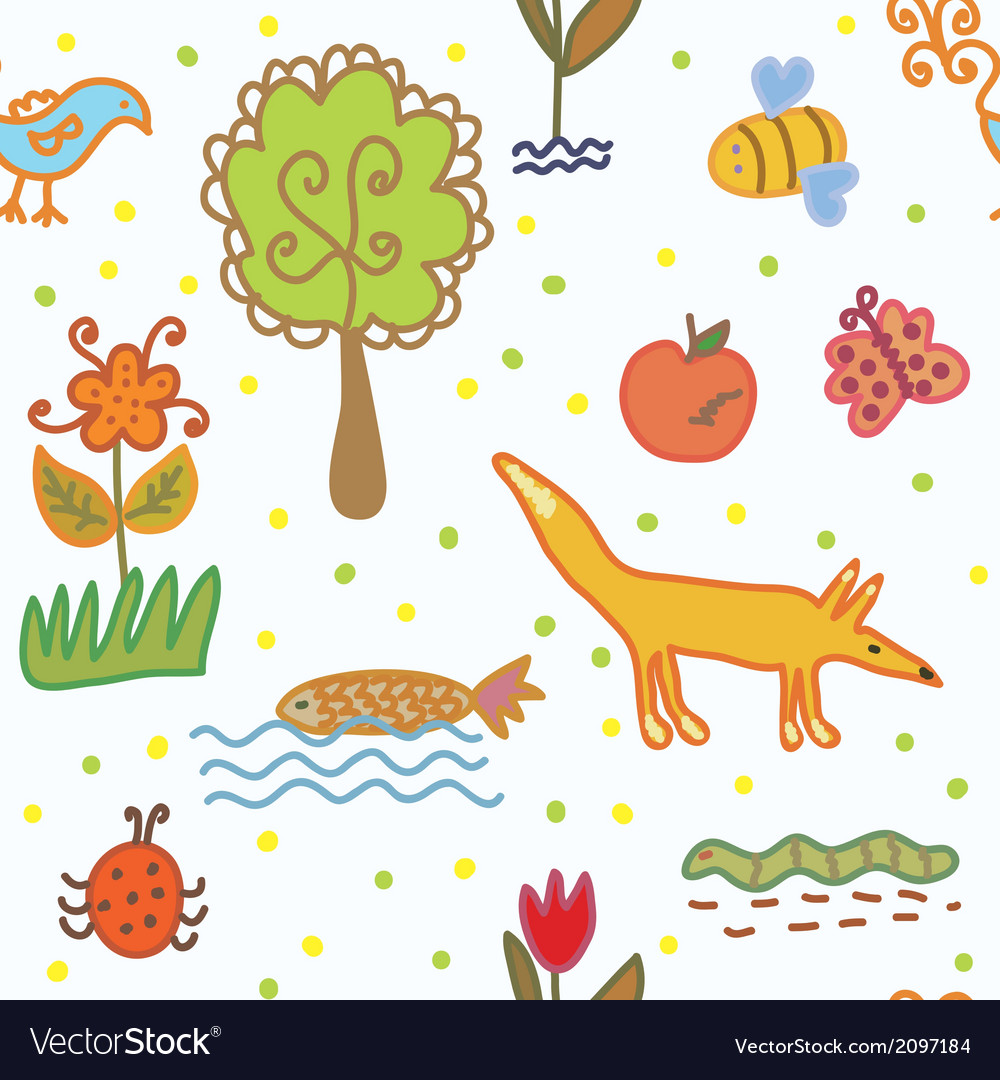 Nature and environmnent seamless pattern vector