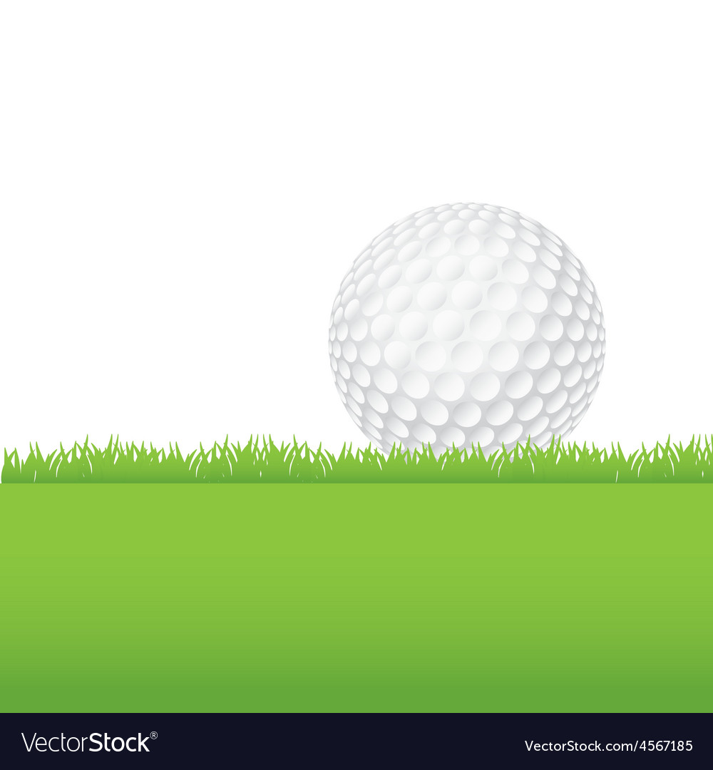 Golf ball in the grass vector