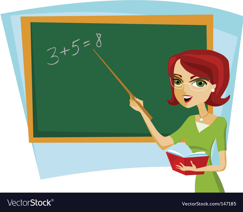 School teacher at blackboard vector