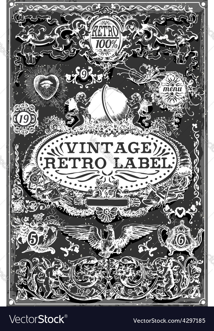 Vintage hand drawn graphic banners on blackboard vector