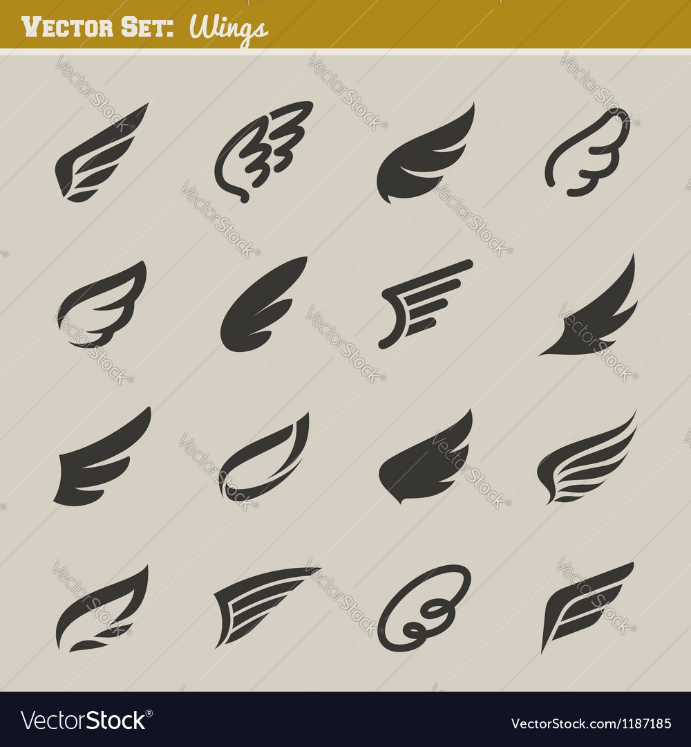 Wings  set of design elements vector