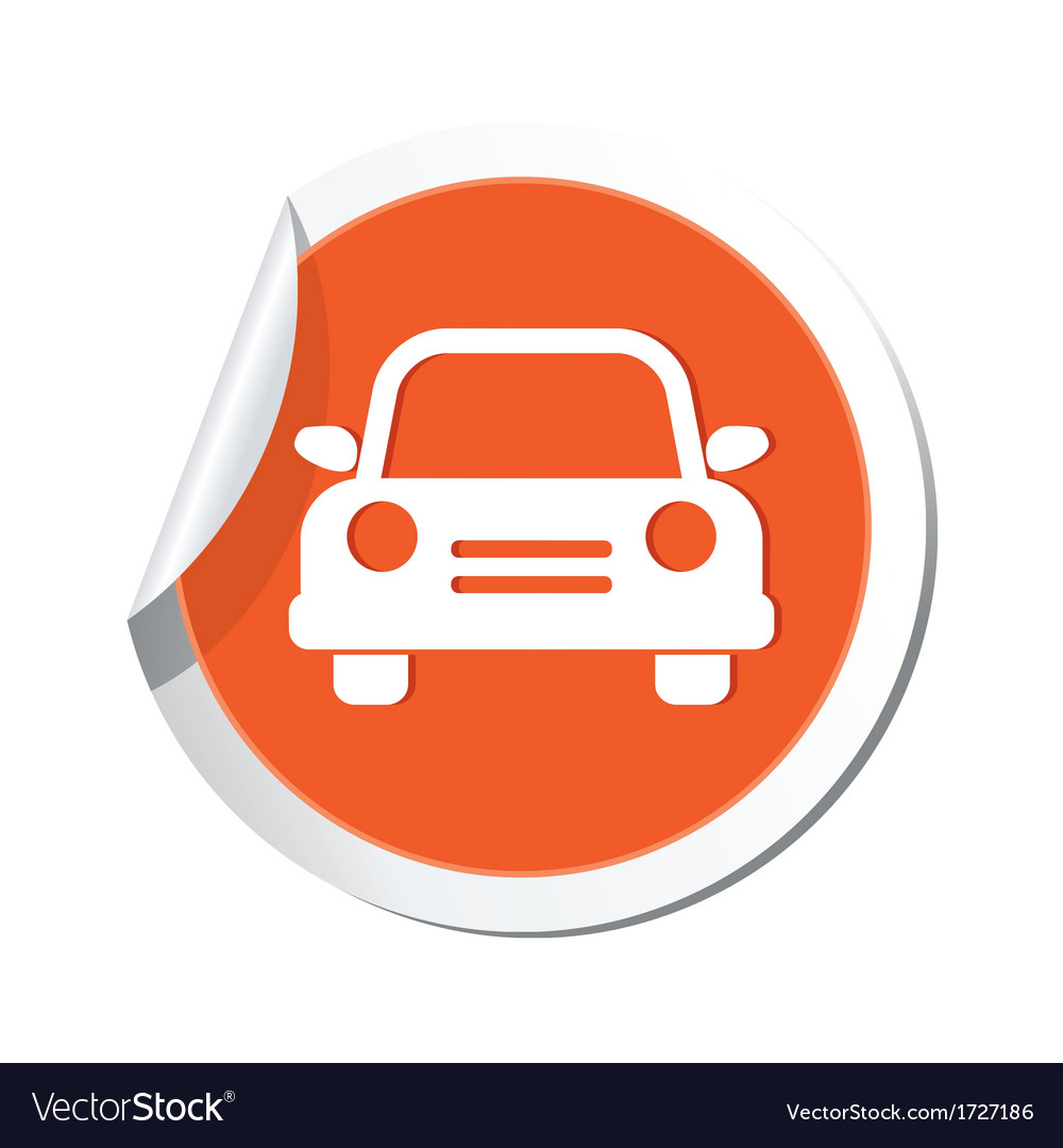 Car icon orange sticker vector