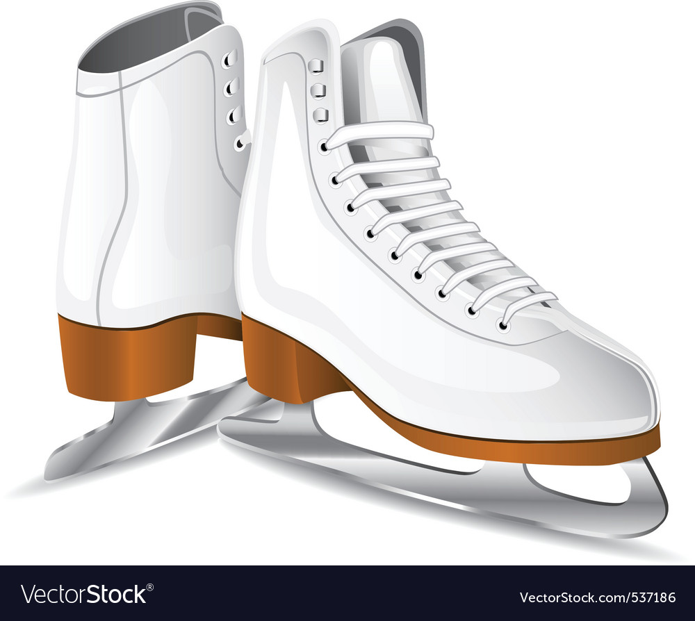 White figure skates vector
