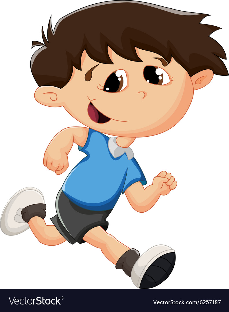 Cartoon kid running vector