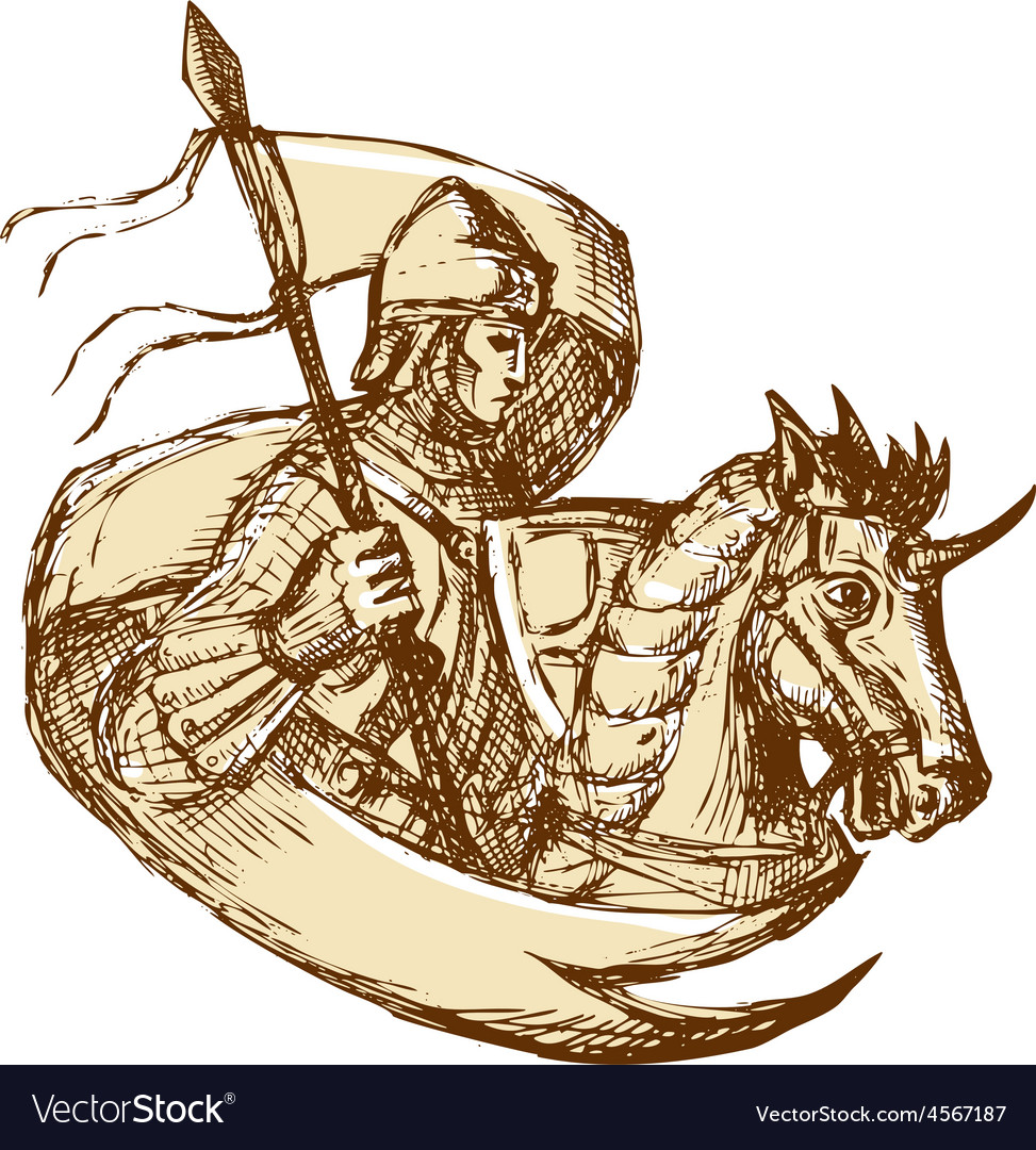 Knight on horse holding flag drawing vector