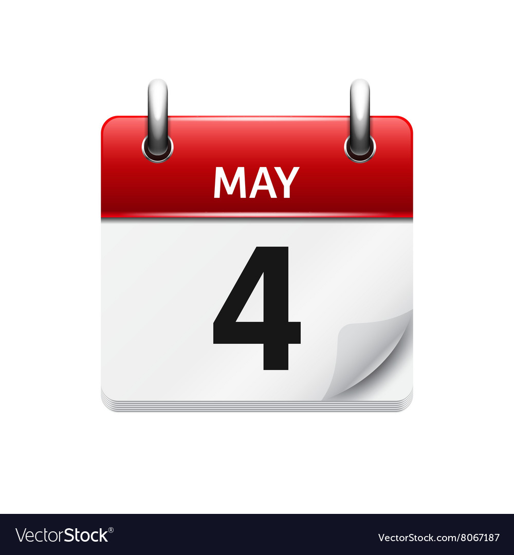 May 4 flat daily calendar icon date and vector