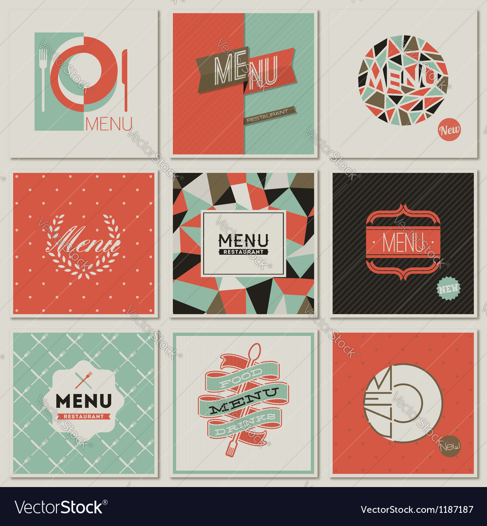 Restaurant menu designs  retrostyled collection vector