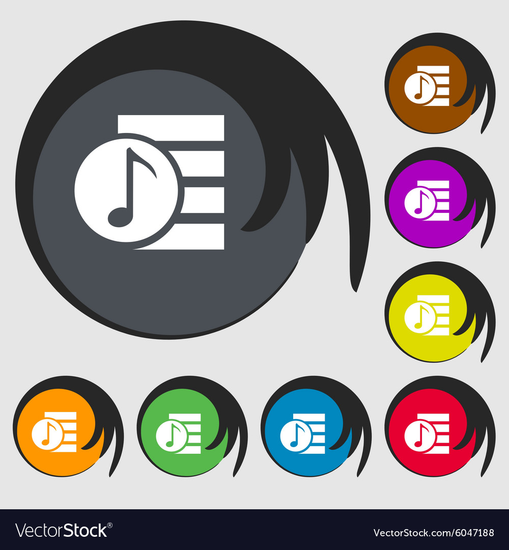 Audio mp3 file icon sign symbols on eight colored vector