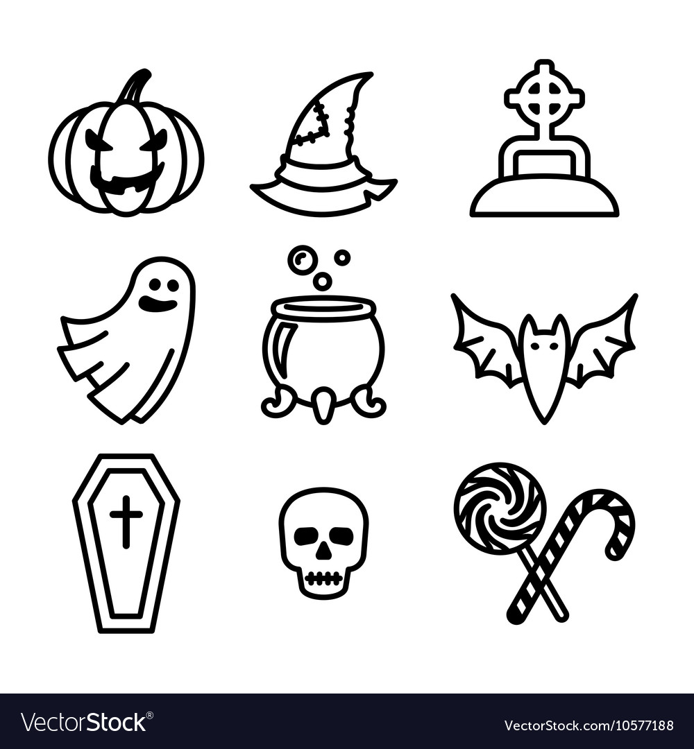 Collection of nine halloween icons vector